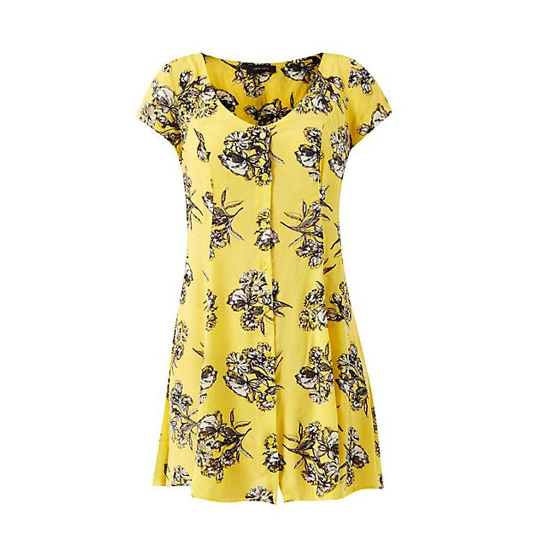 """<p>If this sunny-yellow, floral dress doesn't cheer you up, we're all out of ideas...</p><p><a href=""""http://www.newlook.com/shop/womens/dresses/yellow-button-front-floral-print-tea-dress-_316713189"""" target=""""_blank"""">Yellow button-front floral print tea dress, £19.99, New Look</a></p>"""