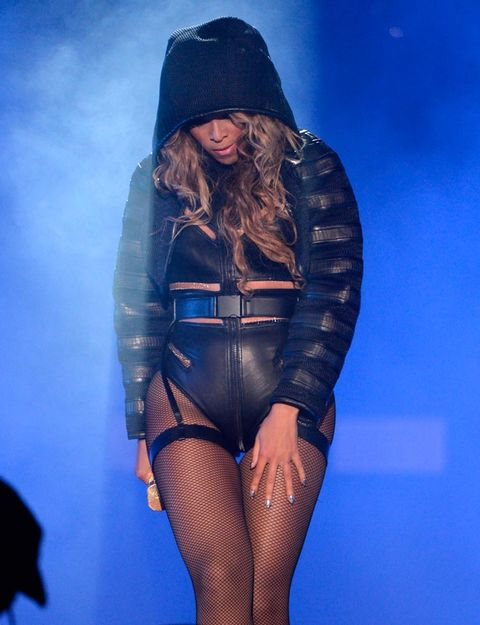 """<p>Alexander Wang provided Beyoncé with one of the racier costumes for her show, a cut-out leather leotard, garter belt, hood and all.</p> <p><a href=""""http://www.cosmopolitan.co.uk/fashion/shopping/best-summer-swimwear"""" target=""""_blank"""">SUMMER SWIMWEAR? SORTED</a></p> <p><a href=""""http://www.cosmopolitan.co.uk/fashion/celebrity/celebrity-style-july-2014"""" target=""""_blank"""">WHAT THE CELEBS ARE WEARING</a></p> <p><a href=""""http://www.cosmopolitan.co.uk/fashion/shopping/best-mirrored-sunglasses"""" target=""""_blank"""">13 MIRRORED SUNNIES YOU SHOULD OWN</a></p>"""