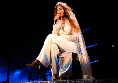 "<p>Beyoncé customised her Elie Saab white jumpsuit recently by adding a delicate, floor-length veil. We wonder what she's trying to tell us?</p> <p><a href=""http://www.cosmopolitan.co.uk/fashion/shopping/best-summer-swimwear"" target=""_blank"">SUMMER SWIMWEAR? SORTED</a></p> <p><a href=""http://www.cosmopolitan.co.uk/fashion/celebrity/celebrity-style-july-2014"" target=""_blank"">WHAT THE CELEBS ARE WEARING</a></p> <p><a href=""http://www.cosmopolitan.co.uk/fashion/shopping/best-mirrored-sunglasses"" target=""_blank"">13 MIRRORED SUNNIES YOU SHOULD OWN</a></p>"