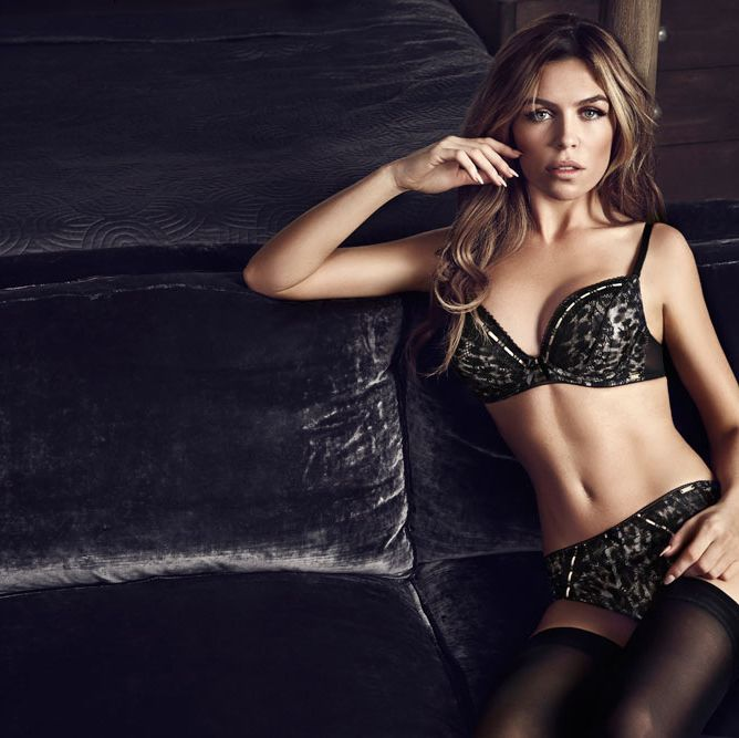 <p>Abbey looked gorgeous modelling the new Ultimo sets. Our favourite is this leopard-print bra and matching briefs, (Hallie bra, £35, thong,£16, short, £18), designed to embrace the female shape with its glamourous edge. </p>