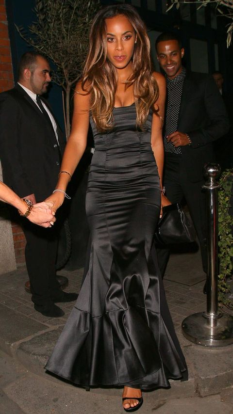 "<p>As she didn't have that many guests to her actual wedding day, Cheryl and new hubby Jean-Bernard threw a party in London for all their friends and family.</p> <p>Rochelle got the dress code spot on in her black evening gown.</p> <p><a href=""http://www.cosmopolitan.co.uk/fashion/celebrity/celebrity-maternity-style-inspiration"" target=""_blank"">MORE A-LIST INSPIRATION: HOW TO STYLE MATERNITY WEAR</a></p> <p><a href=""http://www.cosmopolitan.co.uk/fashion/shopping/embellished-phone-cases"" target=""_blank"">THE BEST IPHONE CASES FOR YOUR HANDBAG</a></p>"