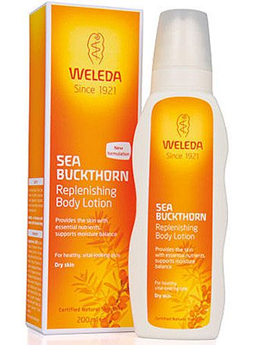 "<p>""This rich-but-easily-absorbed body lotion smells beautifully uplifting and citrusy and is packed with vitamins and omega oils – it's practically an anti-ageing cream for the body. It really nourishes, so your body skin will not just look and feel better instantly, it will get naturally more supple and hydrated over time. Lovely!""</p> <p>Sea Buckthorn Body Lotion, £15.95, <a title=""http://www.weleda.co.uk/body-lotions/sea-buckthorn-replenishing-body-lotion-200ml/invt/106006/"" href=""http://www.weleda.co.uk/body-lotions/sea-buckthorn-replenishing-body-lotion-200ml/invt/106006/"" target=""_blank"">Weleda </a><br /><br /></p>"