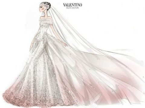 Anne Hathaway Wedding.Valentino Reveals Sketch Of Anne Hathaway S Romantic Wedding Dress