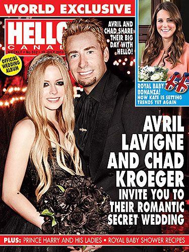Avril Lavigne gets married in black Monique Lhuillier wedding dress!