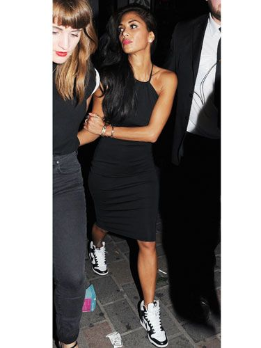 Nicole Scherzinger Parties In London Wearing Black Dress And Trainers