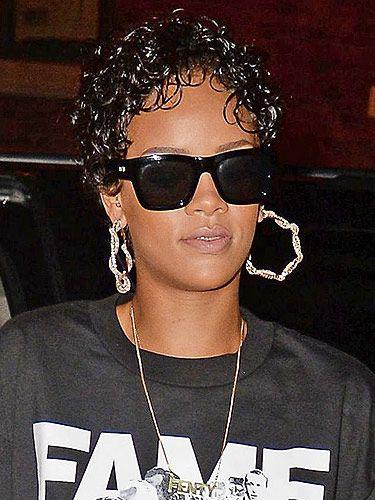 Rihannas Wet Look Curls See Her Slick Short Hairstyle