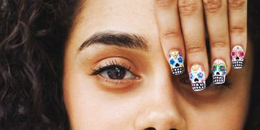 Wah nail art tutorial mexican skulls nail art design step by step prinsesfo Images