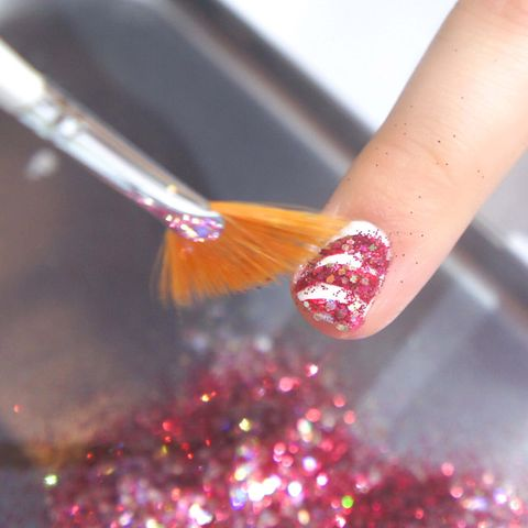 How to do christmas candy cane nail art step by step pictures step three gently dust off the excess glitter and top coat alternatively dont top coat for a more textured effect you can reuse the dipped in prinsesfo Image collections