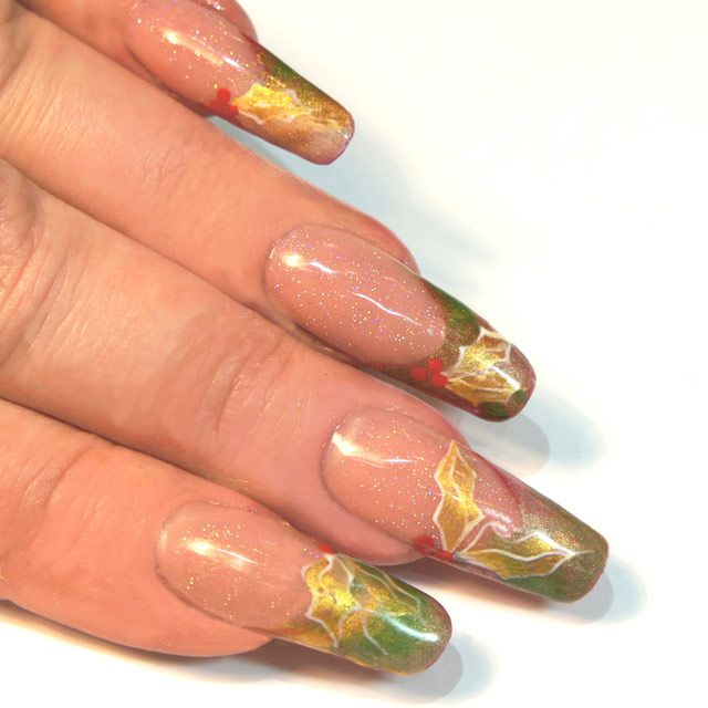 How to do christmas holly design nail art step by step pictures prinsesfo Gallery