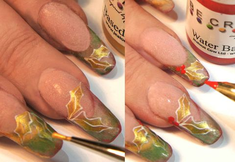 How to do christmas holly design nail art step by step pictures step five using the gold acrylic paint water it down and with a detail brush fill in the centre of the holly step six dip the tip of a nail art pen prinsesfo Gallery