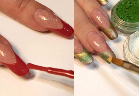 How To Do Christmas Holly Design Nail Art Step By Step Pictures