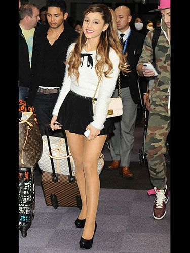 a29351b67a Ariana Grande wears white fluffy jumper and miniskirt :: Ariana Grande's  celebrity style