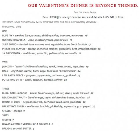 New York restaurant launches Beyonce-themed Valentine's Day menu