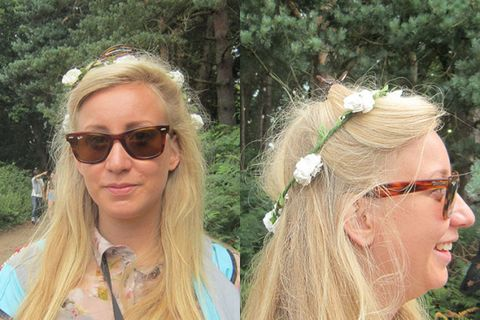 """<p><strong>Daisy, 22, Frinton-on-Sea</strong></p> <p>Daisy's delicate flower garland looked gorgeous with her long blonde hair. Tying half of her hair up to keep it out of her face while on important pixie duties, she looks the image of fesival-chic.</p> <p><a href=""""http://www.cosmopolitan.co.uk/beauty-hair/news/trends/celebrity-beauty/festivals-2014-makeup-hair-celebrity-inspiration"""" target=""""_blank"""">CELEB FESTIVAL BEAUTY INSPIRATION</a></p> <p><a href=""""http://www.cosmopolitan.co.uk/beauty-hair/beauty-tips/hair-how-to-quiff-with-bun"""" target=""""_blank"""">HAIR HOW TO: THE QUICK QUIFF BUN</a></p> <p><a href=""""http://www.cosmopolitan.co.uk/beauty-hair/beauty-tips/hair-how-to-quiff-with-bun"""" target=""""_blank"""">IS HAND ART THE NEW NAIL ART?</a></p> <p><em><span class=""""s1"""">Peugeot celebrated the launch of the </span>New Peugeot 108 this weekend at Latitude</em></p>"""