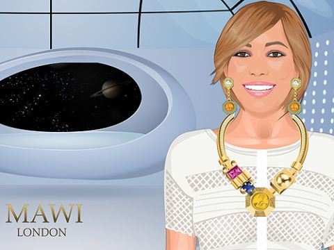 Animation, Space, Circle, Blond, Hair coloring, Bangs, Makeover, Fictional character, Graphics, Clothes dryer,
