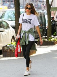 <p>Alexa Chung likes the Artic Monkeys - and she's not afraid to show it. The star was spotted in her casual ensemble while walking around New York.</p>
