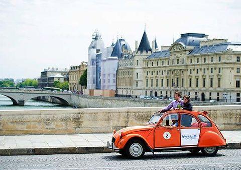 Classic car, Classic, Travel, Antique car, Street fashion, Bridge, Brand, City car, Subcompact car, Vintage car,