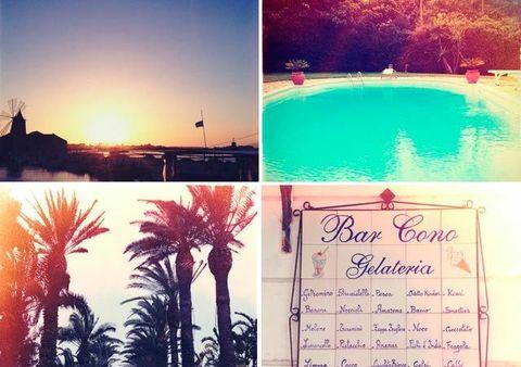 Swimming pool, Sunrise, Arecales, Sunset, Resort, Palm tree, Calligraphy, Resort town, Collage, Handwriting,