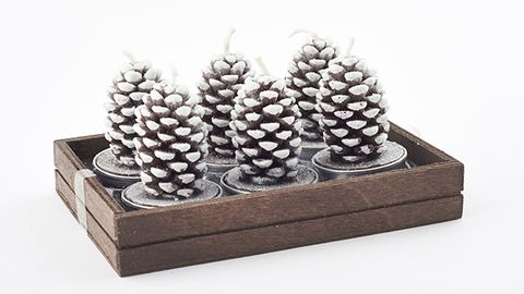 These frosted pine cone tealight candles will each burn for 2.5 hours, £8.50/set six, The V&A Shop