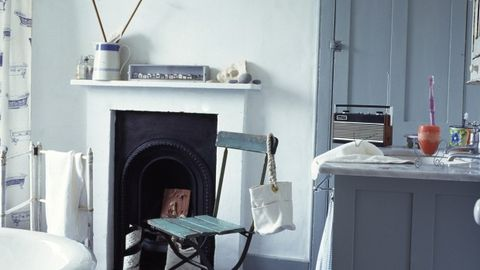 Room, Wall, Grey, Teal, Gas, Hearth, Turquoise, Fireplace, Cabinetry, Pillow,