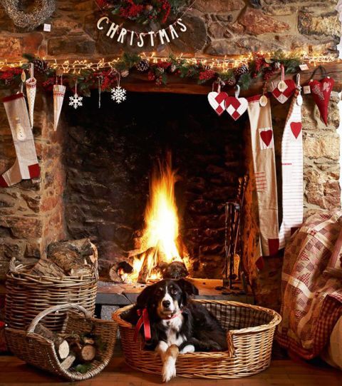 Hearth, Fireplace, Heat, Room, Christmas stocking, Christmas, Sporting Group, Fire screen, Christmas decoration, Wood-burning stove,