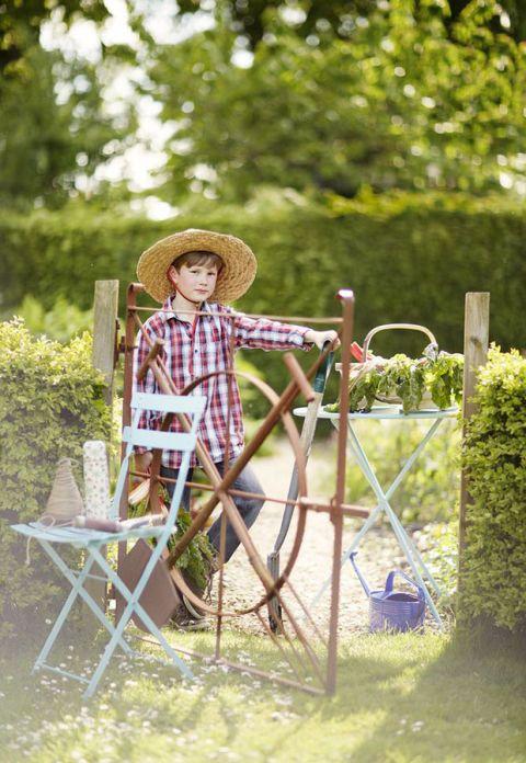 Hat, Shrub, Garden, Toy, Vintage clothing, Yard, Hedge, Creative arts, Outdoor furniture,