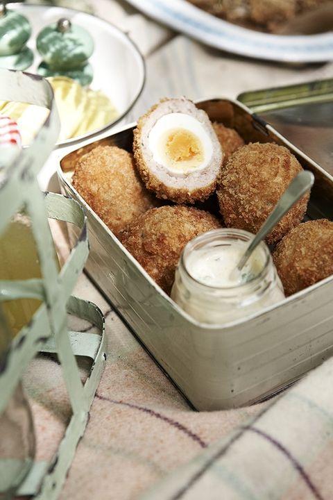 Dish, Food, Cuisine, Ingredient, Breakfast, Comfort food, Scotch egg, Meal, Produce, Finger food,