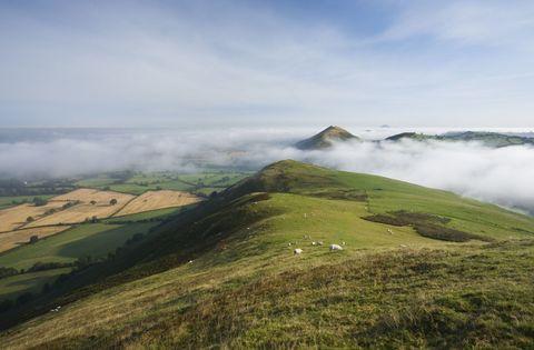 Shropshire Hills peak with sheep