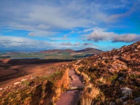 Mountainous landforms, Highland, Landscape, Natural landscape, Hill, Grassland, Valley, Trail, Fell, Tundra,