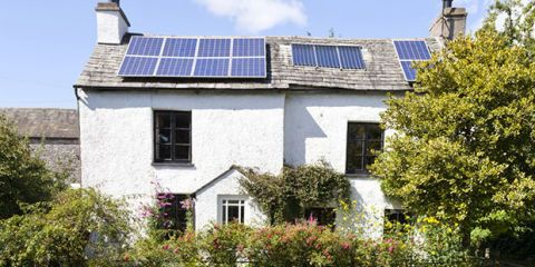 Solar panels on a cottage at Stainton, Cumbria to illustrate Ten ways to be greener in 2016