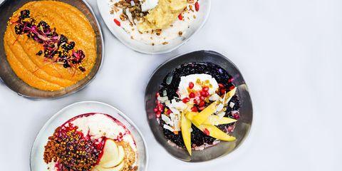 Four different breakfast bowls overhead shot
