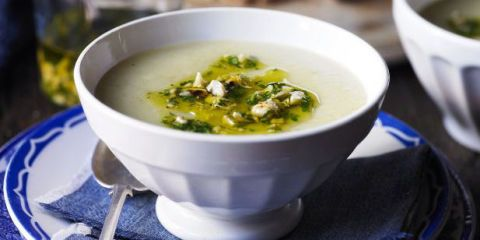 Potato and garlic soup with toasted hazelnut relish