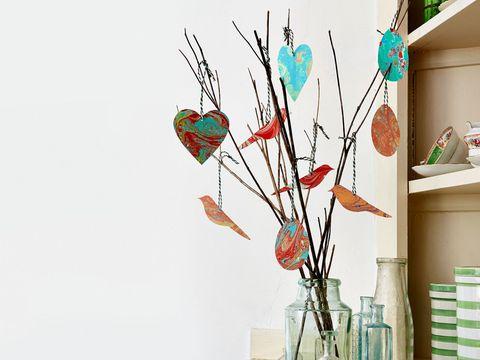 Turquoise, Teal, Wall, Aqua, Twig, Natural material, Interior design, Creative arts, Paint, Visual arts,