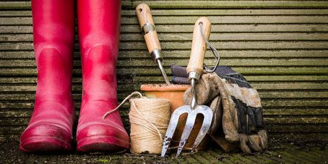 gardening tools wellies