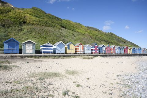 Image result for british beach  with beach huts