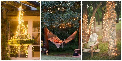 fairy lights in garden