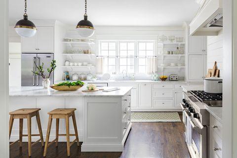 Green, Room, White, Interior design, Kitchen, Home, Cabinetry, Light fixture, Kitchen appliance, Major appliance,
