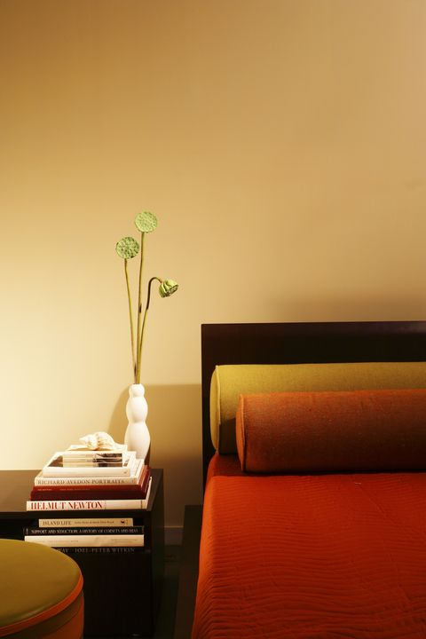 Clutter-free bedroom: Books, a shell and a plant are kept on the table near the bed