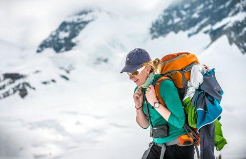 mountain climbing woman snow ice