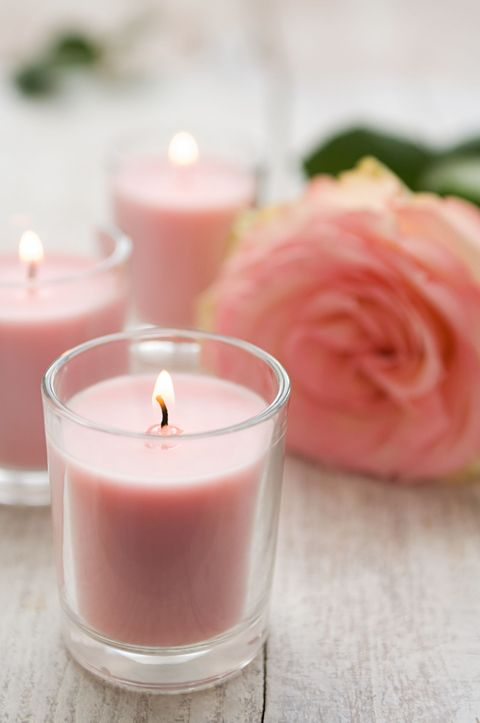 Wax, Peach, Pink, Candle, Petal, Glass, Hybrid tea rose, Rose order, Flowering plant, Rose family,