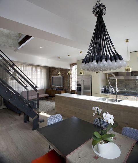 Floor, Room, Interior design, Property, Flooring, Stairs, Table, Furniture, Ceiling, Interior design,