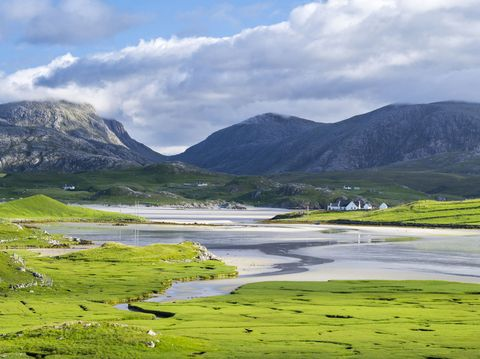 Landscape with hills and bay, The Uig Bay (Traigh Uuige), Isle of Lewis, Outer Hebrides, Scotland, UK