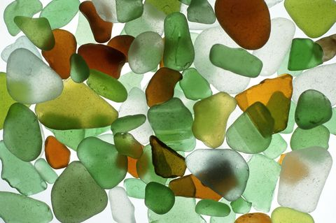 Green, brown and white sea glass