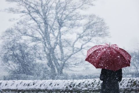 Woman holding red umbrella in wintery scene with snow