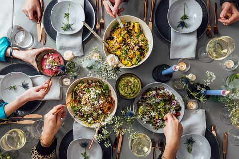 Dinner party of different food