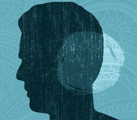 Art depicting hearing loss with blue print background