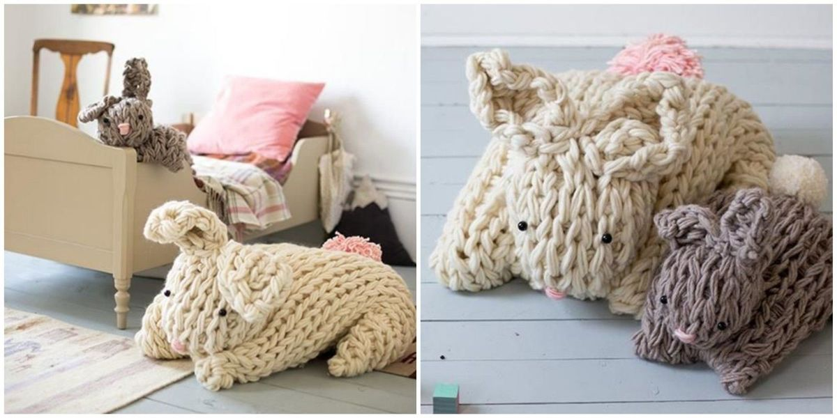 You can make a chunky knit Easter bunny in just a few hours