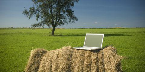 hay bale laptop tech