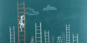 climb ladder cartoon confident