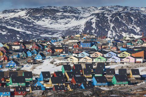 Elevated town view, Ilulissat, Disko Bay, Greenland